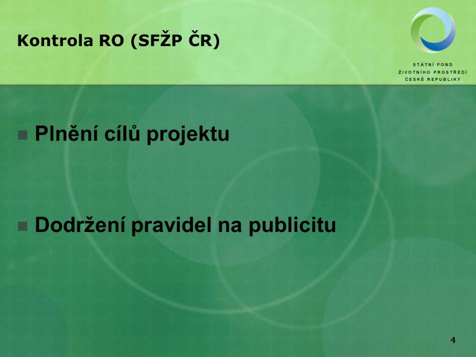 4 Kontrola RO (SFŽP ČR) Plnění cílů projektu Dodržení pravidel na publicitu