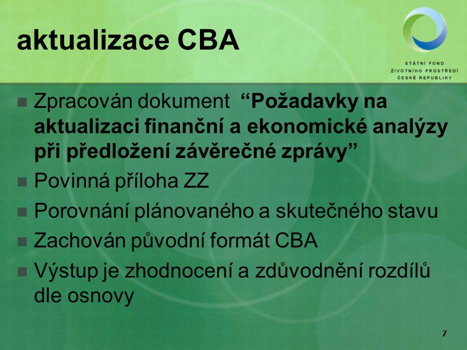 7 aktualizace CBA Zpracován dokument Požadavky na aktualizaci finanční a ekonomické analýzy při předložení závěrečné zprávy Povinná příloha ZZ Porovnání plánovaného a skutečného stavu Zachován původní formát CBA Výstup je zhodnocení a zdůvodnění rozdílů dle osnovy