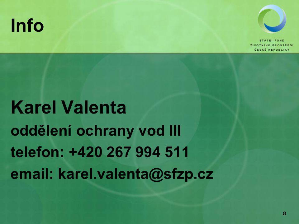 8 Info Karel Valenta oddělení ochrany vod III telefon: +420 267 994 511 email: karel.valenta@sfzp.cz