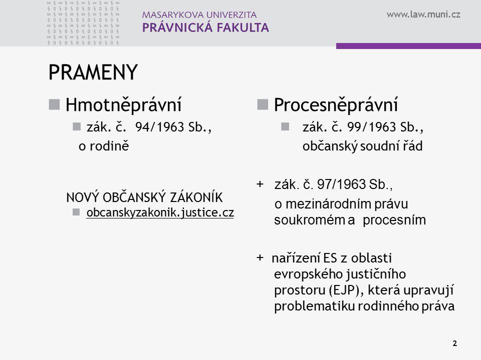 www.law.muni.cz PRAMENY 2 Hmotněprávní zák. č. 94/1963 Sb., o rodině NOVÝ OBČANSKÝ ZÁKONÍK obcanskyzakonik.justice.cz Procesněprávní zák. č. 99/1963 S