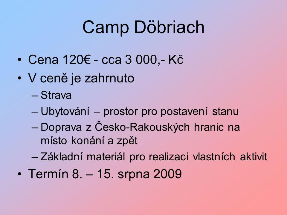 Camp Döbriach Cena 120€ - cca 3 000,- Kč V ceně je zahrnuto –Strava –Ubytování – prostor pro postavení stanu –Doprava z Česko-Rakouských hranic na místo konání a zpět –Základní materiál pro realizaci vlastních aktivit Termín 8.