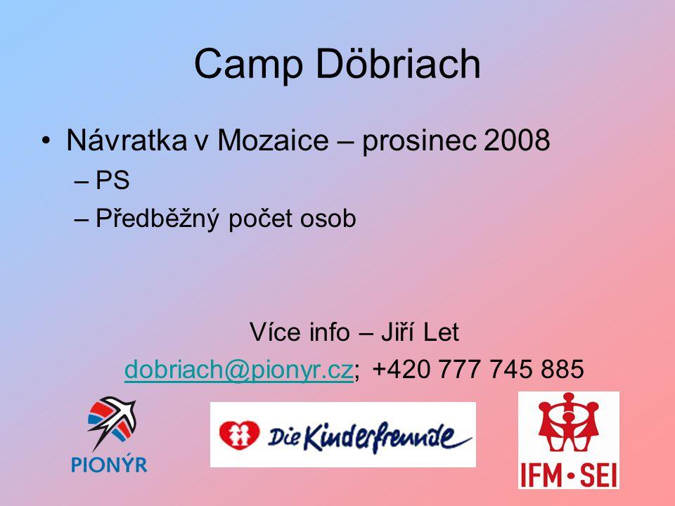 Camp Döbriach Návratka v Mozaice – prosinec 2008 –PS –Předběžný počet osob Více info – Jiří Let dobriach@pionyr.czdobriach@pionyr.cz; +420 777 745 885