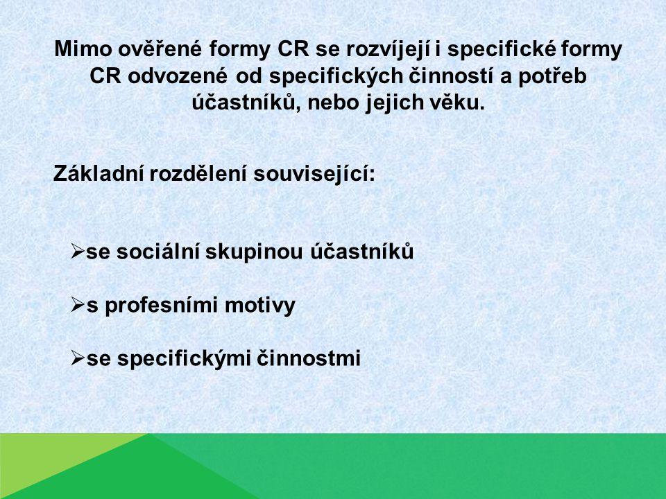 Mimo ověřené formy CR se rozvíjejí i specifické formy CR odvozené od specifických činností a potřeb účastníků, nebo jejich věku.