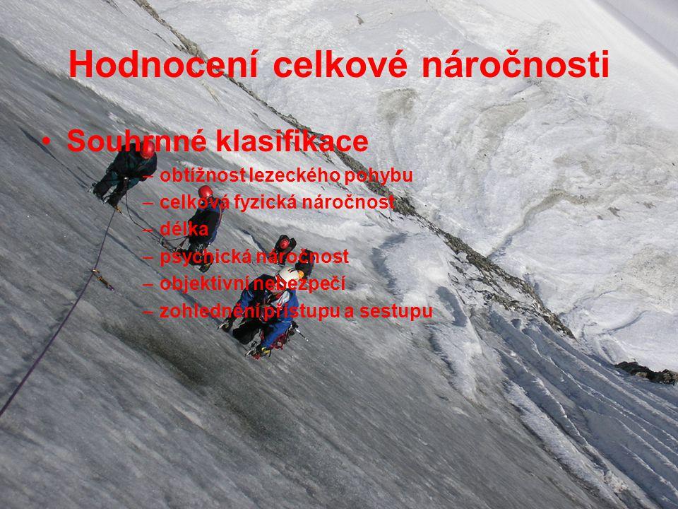 Hodnocení celkové náročnosti Souhrnné klasifikace –obtížnost lezeckého pohybu –celková fyzická náročnost –délka –psychická náročnost –objektivní nebezpečí –zohlednění přístupu a sestupu