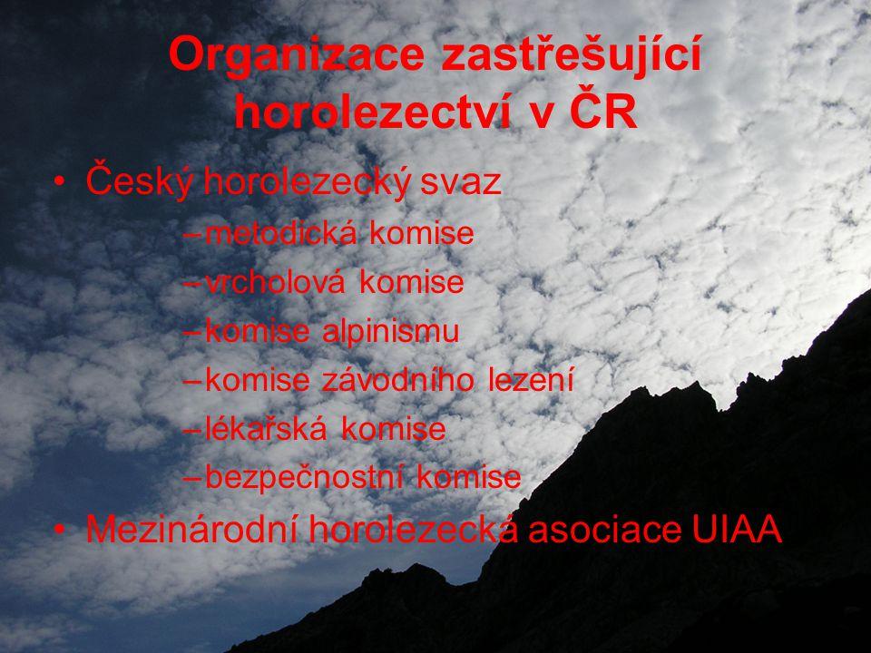 Organizace zastřešující horolezectví v ČR Český horolezecký svaz –metodická komise –vrcholová komise –komise alpinismu –komise závodního lezení –lékařská komise –bezpečnostní komise Mezinárodní horolezecká asociace UIAA