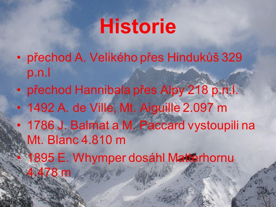Historie přechod A.Velikého přes Hindukůš 329 p.n.l přechod Hannibala přes Alpy 218 p.n.l.