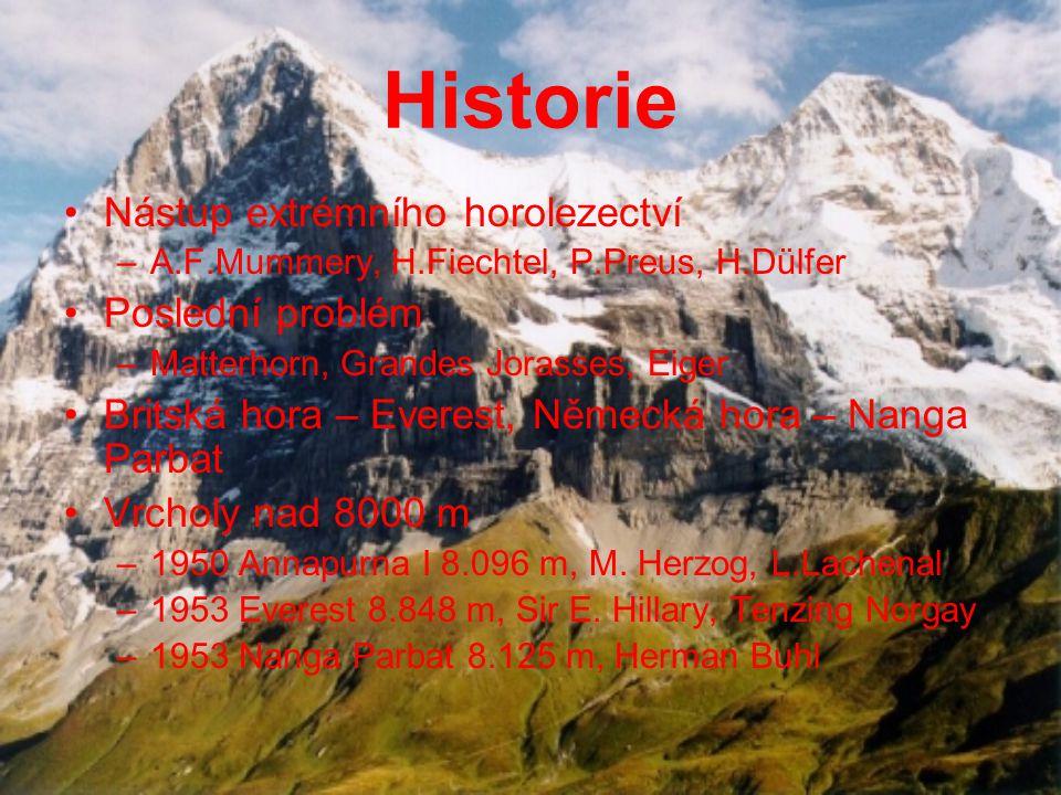 Historie Nástup extrémního horolezectví –A.F.Mummery, H.Fiechtel, P.Preus, H.Dülfer Poslední problém –Matterhorn, Grandes Jorasses, Eiger Britská hora – Everest, Německá hora – Nanga Parbat Vrcholy nad 8000 m –1950 Annapurna I 8.096 m, M.