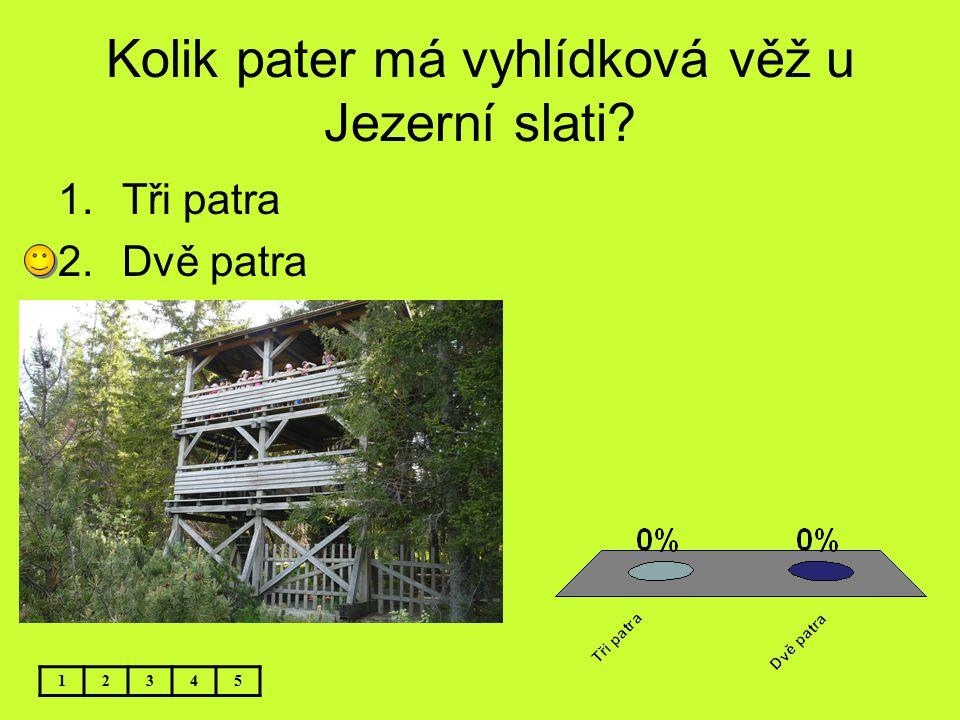 Kolik pater má vyhlídková věž u Jezerní slati? 12345 1.Tři patra 2.Dvě patra