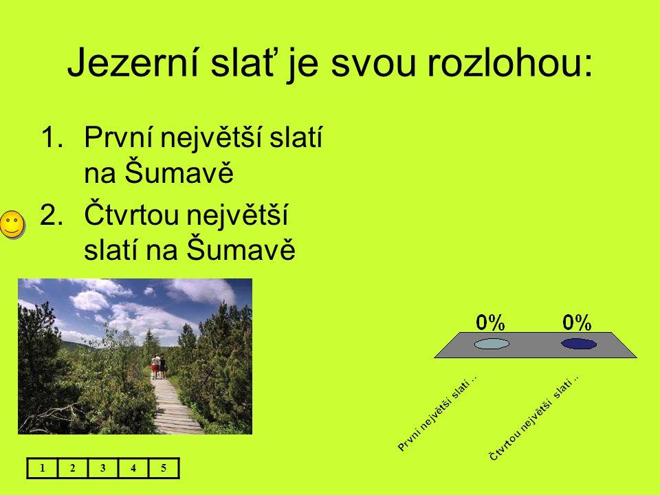 Jezerní slať je svou rozlohou: 12345 1.První největší slatí na Šumavě 2.Čtvrtou největší slatí na Šumavě