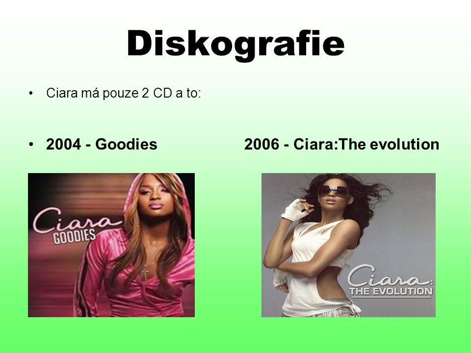 Diskografie Ciara má pouze 2 CD a to: 2004 - Goodies 2006 - Ciara:The evolution