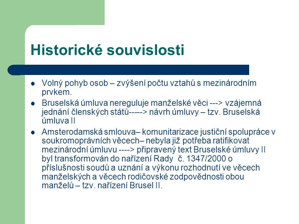 Historické souvislosti Nařízení Brusel II z roku 2000– 46 článků – nebylo aplikovatelné na všechny problémy.