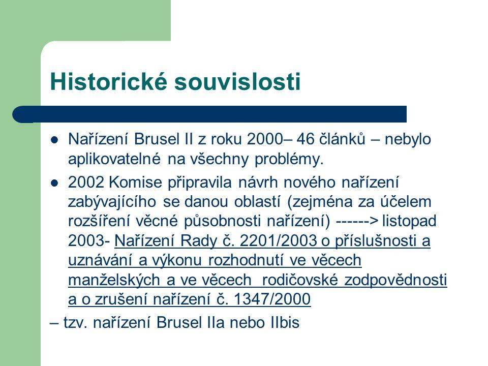 Historické souvislosti Nařízení Brusel II z roku 2000– 46 článků – nebylo aplikovatelné na všechny problémy. 2002 Komise připravila návrh nového naříz