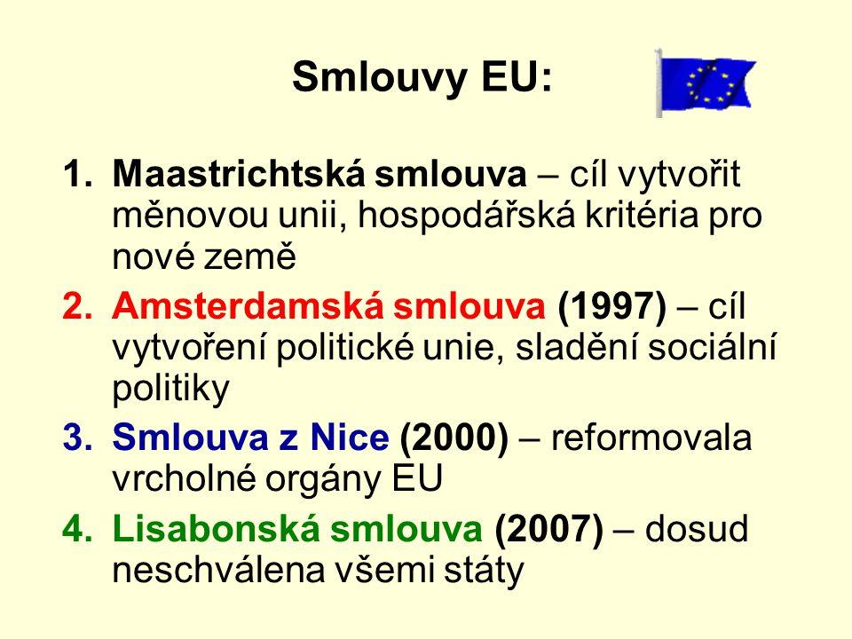 Smlouvy EU: 1.Maastrichtská smlouva – cíl vytvořit měnovou unii, hospodářská kritéria pro nové země 2.Amsterdamská smlouva (1997) – cíl vytvoření poli
