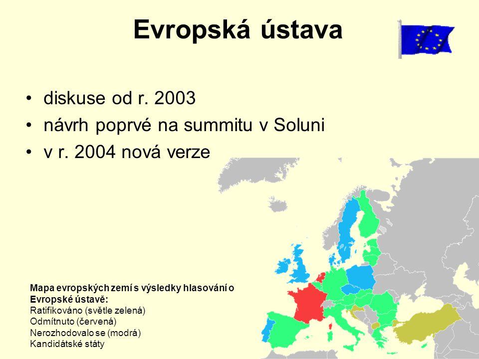 Evropská ústava diskuse od r. 2003 návrh poprvé na summitu v Soluni v r. 2004 nová verze Mapa evropských zemí s výsledky hlasování o Evropské ústavě: