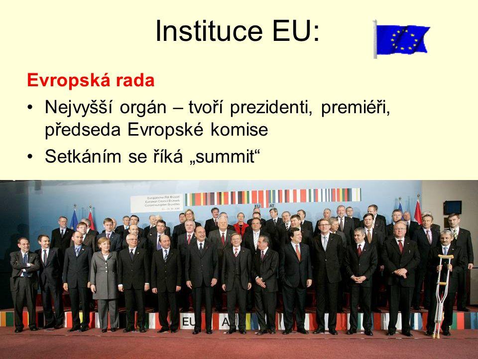 """Instituce EU: Evropská rada Nejvyšší orgán – tvoří prezidenti, premiéři, předseda Evropské komise Setkáním se říká """"summit"""""""