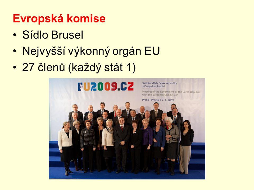 Evropský parlament Sídlo Brusel, Štrasburk Nejvyšší zákonodárný orgán (785 poslanců)