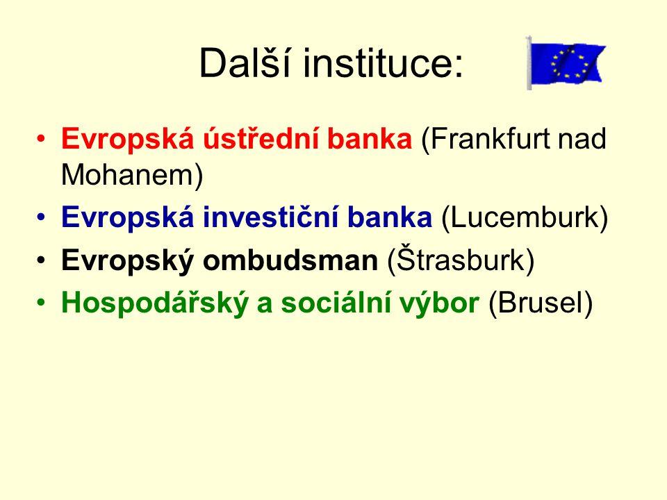 Další instituce: Evropská ústřední banka (Frankfurt nad Mohanem) Evropská investiční banka (Lucemburk) Evropský ombudsman (Štrasburk) Hospodářský a so