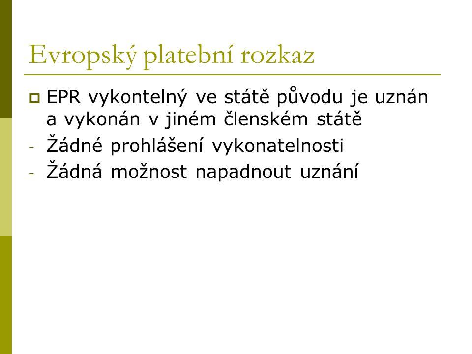 Evropský platební rozkaz  EPR vykontelný ve státě původu je uznán a vykonán v jiném členském státě - Žádné prohlášení vykonatelnosti - Žádná možnost