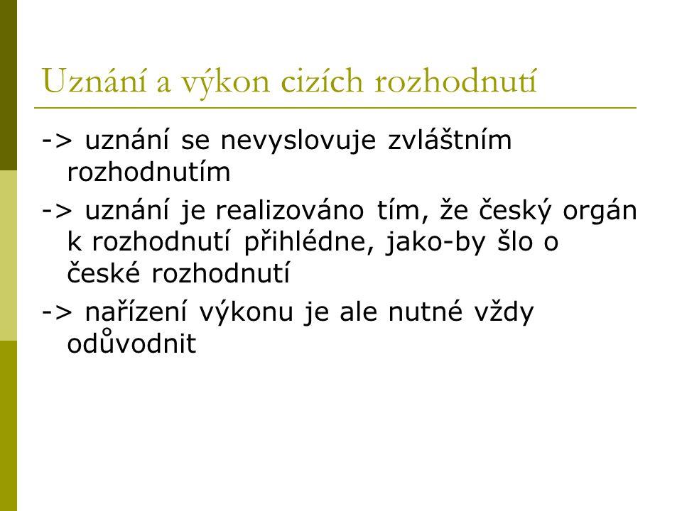 Uznání a výkon cizích rozhodnutí -> uznání se nevyslovuje zvláštním rozhodnutím -> uznání je realizováno tím, že český orgán k rozhodnutí přihlédne, j