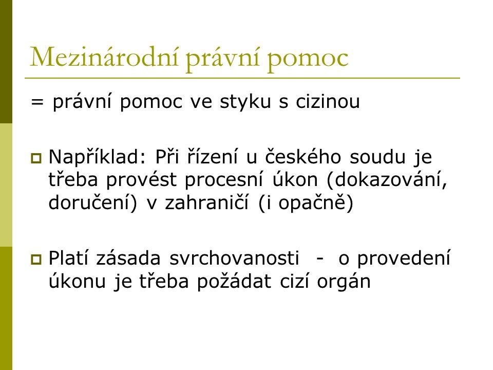 Mezinárodní právní pomoc = právní pomoc ve styku s cizinou  Například: Při řízení u českého soudu je třeba provést procesní úkon (dokazování, doručen