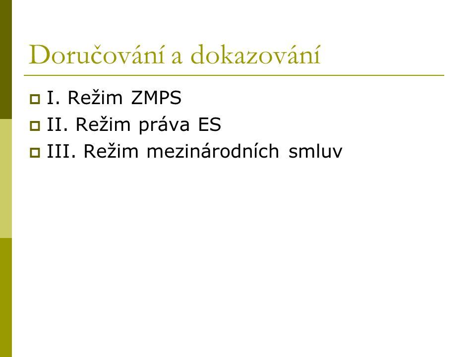 Doručování a dokazování  I. Režim ZMPS  II. Režim práva ES  III. Režim mezinárodních smluv
