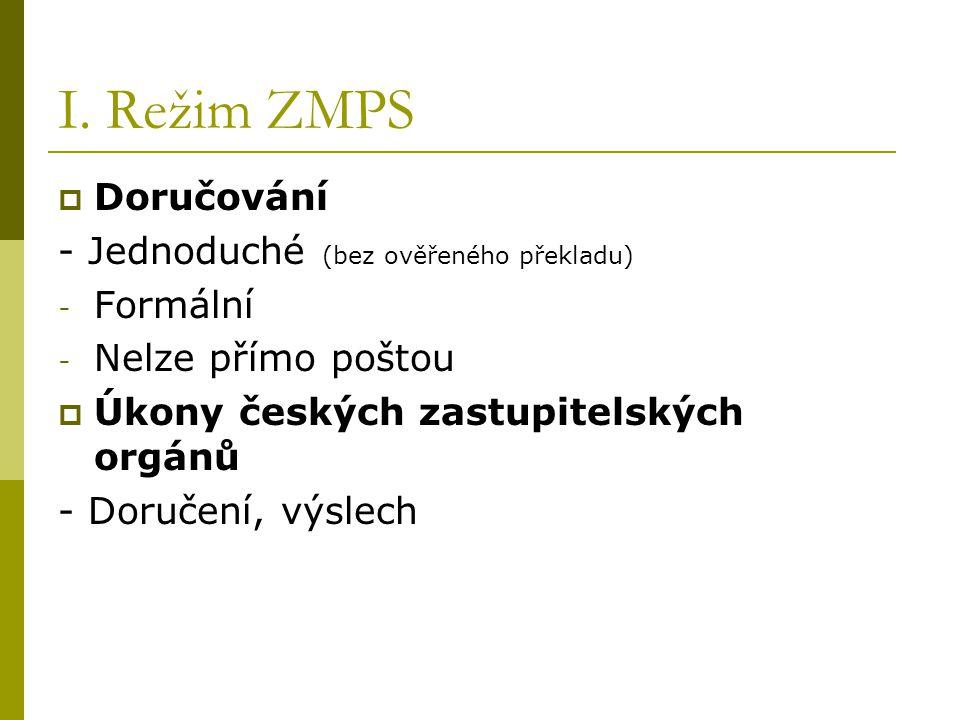 I. Režim ZMPS  Doručování - Jednoduché (bez ověřeného překladu) - Formální - Nelze přímo poštou  Úkony českých zastupitelských orgánů - Doručení, vý