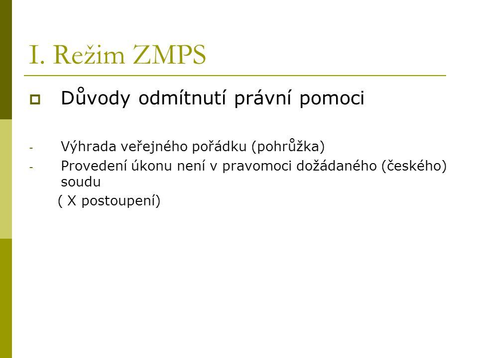 I. Režim ZMPS  Důvody odmítnutí právní pomoci - Výhrada veřejného pořádku (pohrůžka) - Provedení úkonu není v pravomoci dožádaného (českého) soudu (