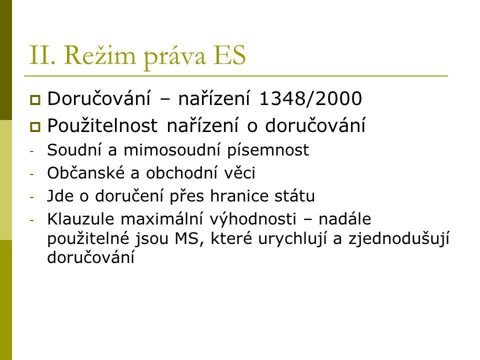 II. Režim práva ES  Doručování – nařízení 1348/2000  Použitelnost nařízení o doručování - Soudní a mimosoudní písemnost - Občanské a obchodní věci -
