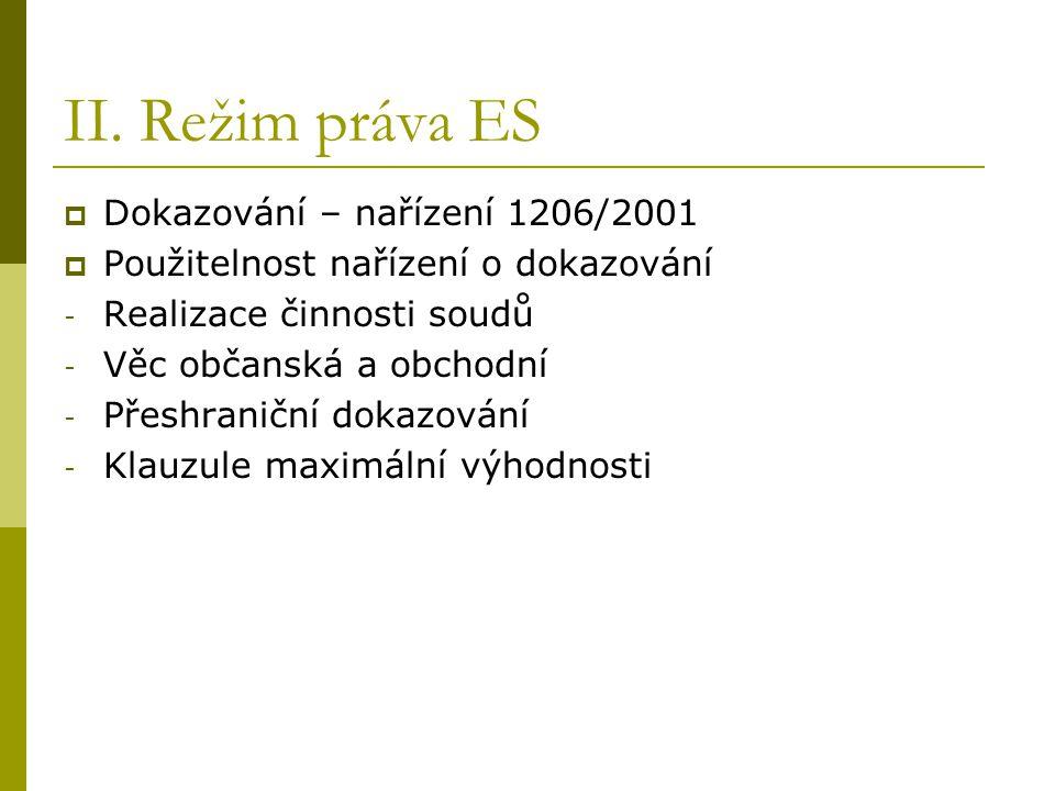 II. Režim práva ES  Dokazování – nařízení 1206/2001  Použitelnost nařízení o dokazování - Realizace činnosti soudů - Věc občanská a obchodní - Přesh