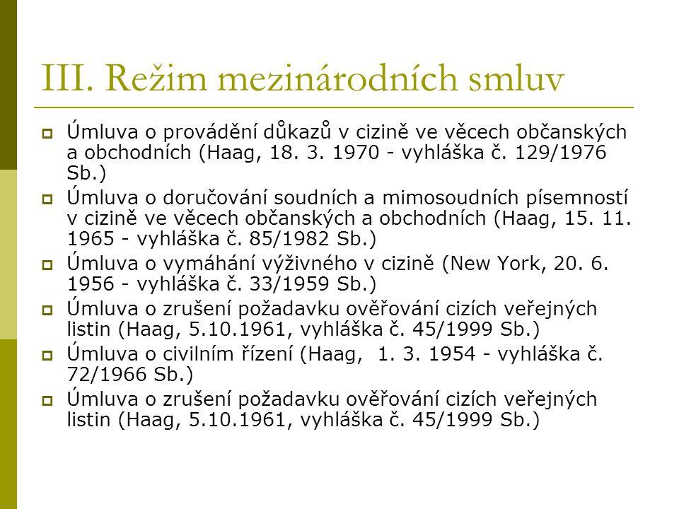 III. Režim mezinárodních smluv  Úmluva o provádění důkazů v cizině ve věcech občanských a obchodních (Haag, 18. 3. 1970 - vyhláška č. 129/1976 Sb.) 