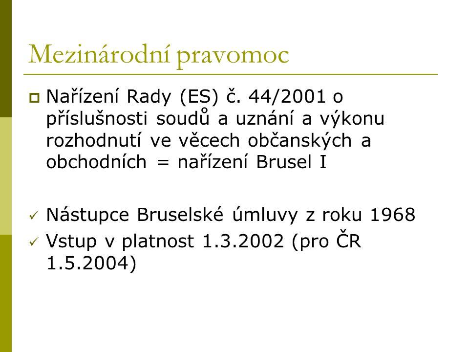 Mezinárodní pravomoc  Nařízení Rady (ES) č. 44/2001 o příslušnosti soudů a uznání a výkonu rozhodnutí ve věcech občanských a obchodních = nařízení Br