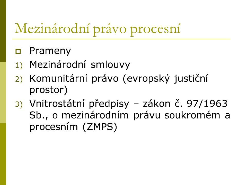 Mezinárodní právo procesní  Prameny 1) Mezinárodní smlouvy 2) Komunitární právo (evropský justiční prostor) 3) Vnitrostátní předpisy – zákon č. 97/19