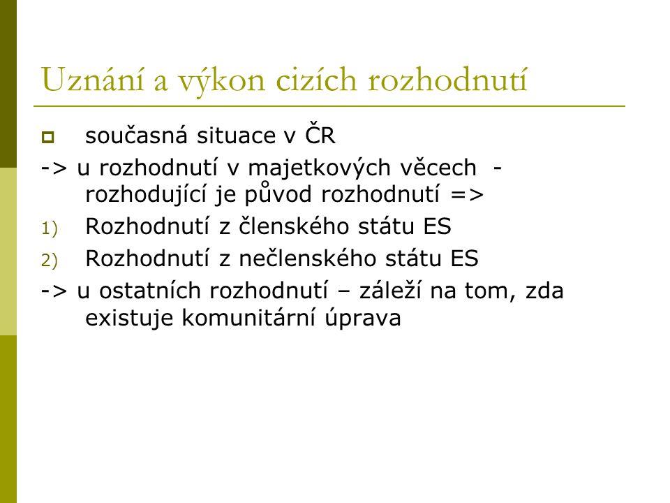 Uznání a výkon cizích rozhodnutí  současná situace v ČR -> u rozhodnutí v majetkových věcech - rozhodující je původ rozhodnutí => 1) Rozhodnutí z čle