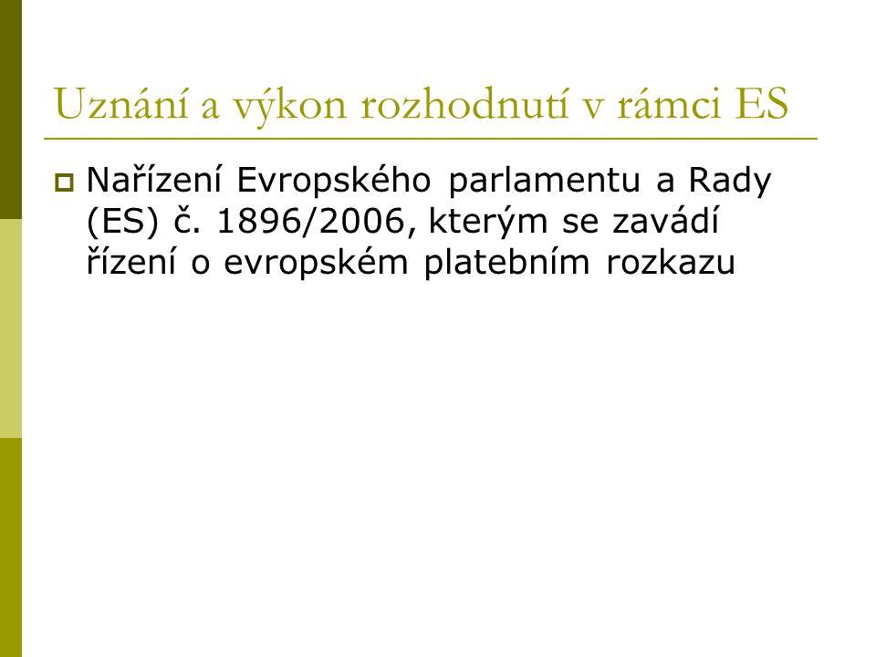 Uznání a výkon rozhodnutí v rámci ES  Nařízení Evropského parlamentu a Rady (ES) č. 1896/2006, kterým se zavádí řízení o evropském platebním rozkazu