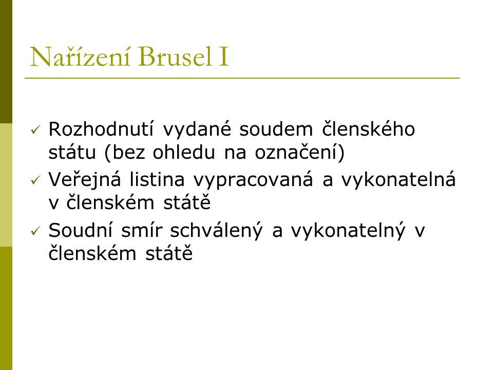 Nařízení Brusel I Rozhodnutí vydané soudem členského státu (bez ohledu na označení) Veřejná listina vypracovaná a vykonatelná v členském státě Soudní