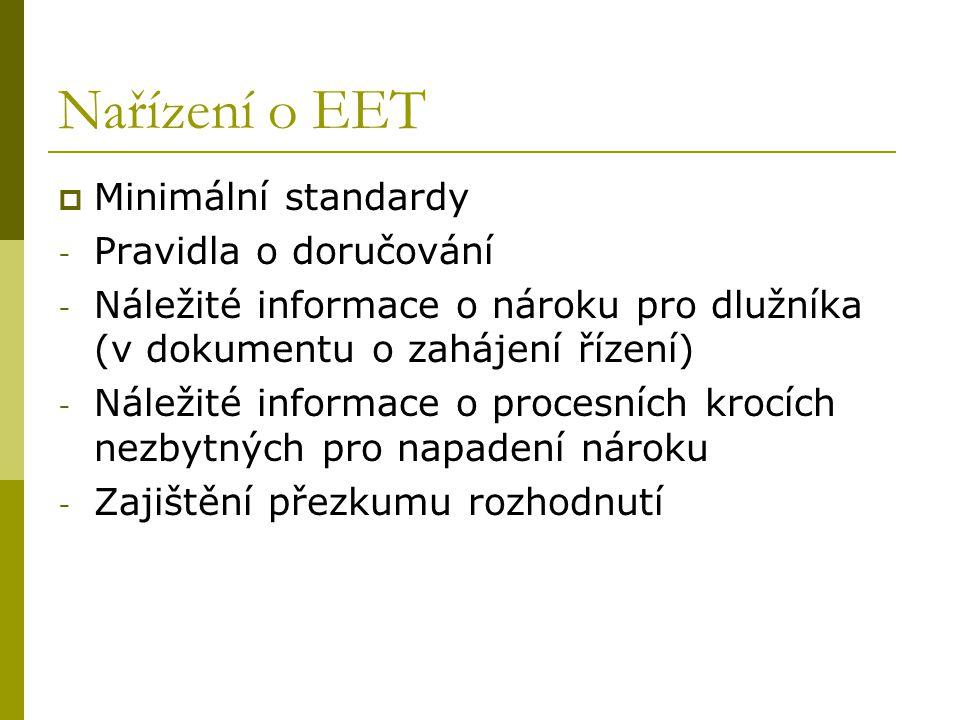 Nařízení o EET  Minimální standardy - Pravidla o doručování - Náležité informace o nároku pro dlužníka (v dokumentu o zahájení řízení) - Náležité inf