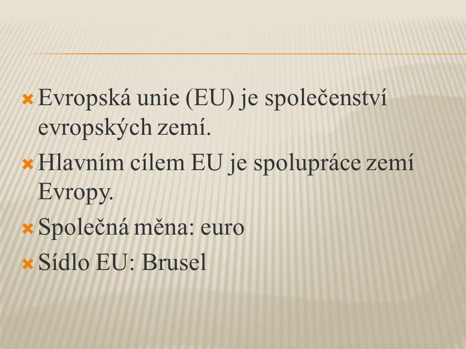  Evropská unie (EU) je společenství evropských zemí.  Hlavním cílem EU je spolupráce zemí Evropy.  Společná měna: euro  Sídlo EU: Brusel