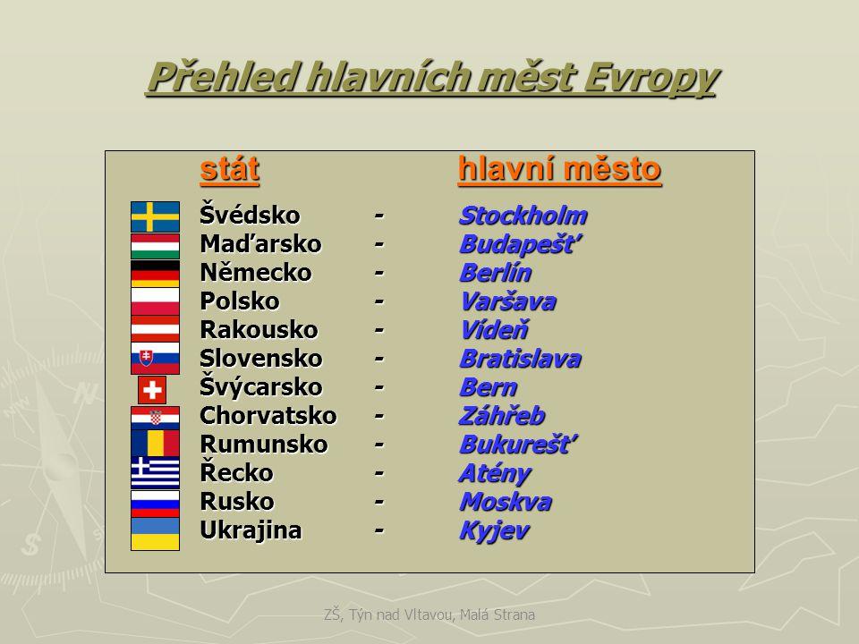 Přehled hlavních měst Evropy státhlavní město Švédsko-Stockholm Maďarsko-Budapešť Německo-Berlín Polsko-Varšava Rakousko-Vídeň Slovensko-Bratislava Šv