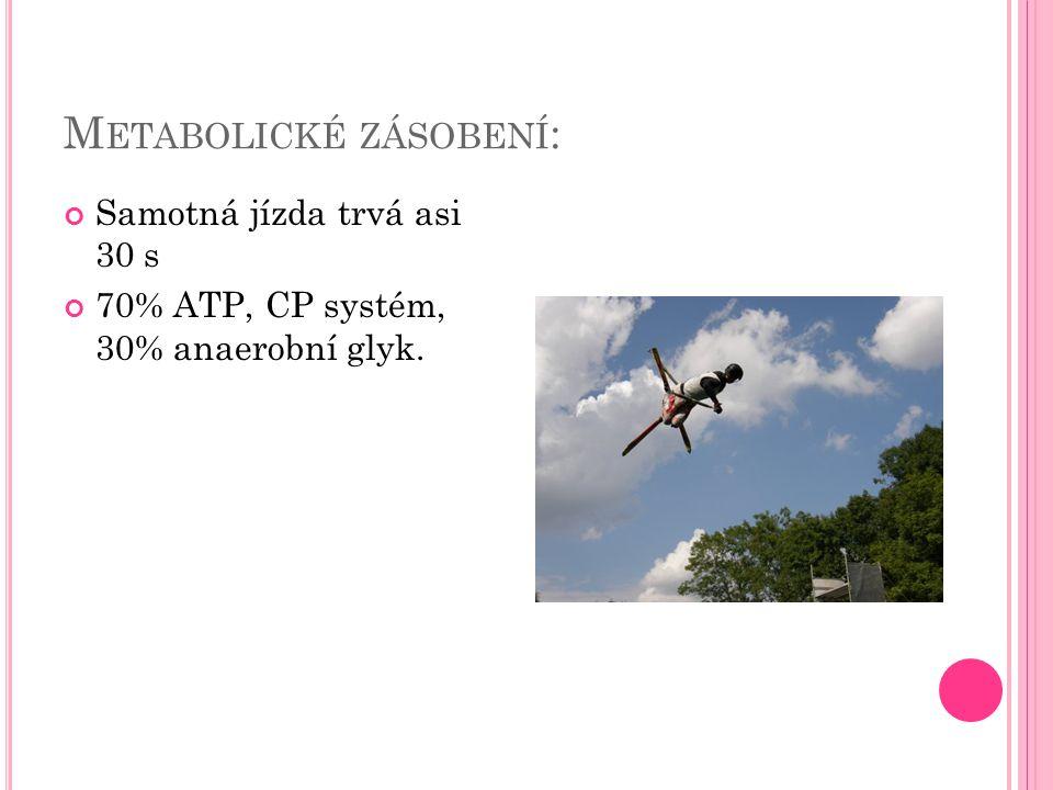 M ETABOLICKÉ ZÁSOBENÍ : Samotná jízda trvá asi 30 s 70% ATP, CP systém, 30% anaerobní glyk.