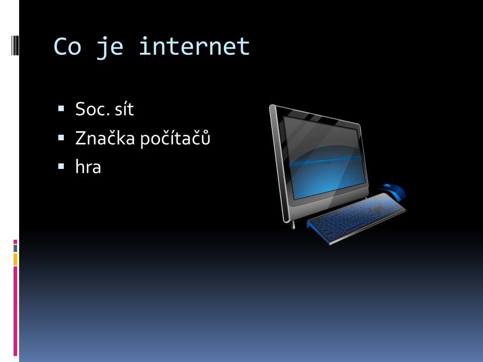 Co je internet  Soc. sít  Značka počítačů  hra