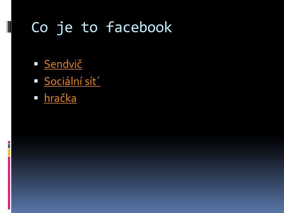 Co je to facebook  Sendvič Sendvič  Sociální sít´ Sociální sít´  hračka hračka