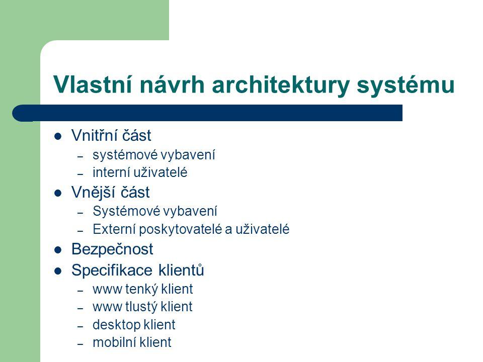 Vlastní návrh architektury systému Vnitřní část – systémové vybavení – interní uživatelé Vnější část – Systémové vybavení – Externí poskytovatelé a uživatelé Bezpečnost Specifikace klientů – www tenký klient – www tlustý klient – desktop klient – mobilní klient