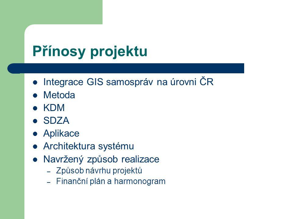 Přínosy projektu Integrace GIS samospráv na úrovni ČR Metoda KDM SDZA Aplikace Architektura systému Navržený způsob realizace – Způsob návrhu projektů – Finanční plán a harmonogram