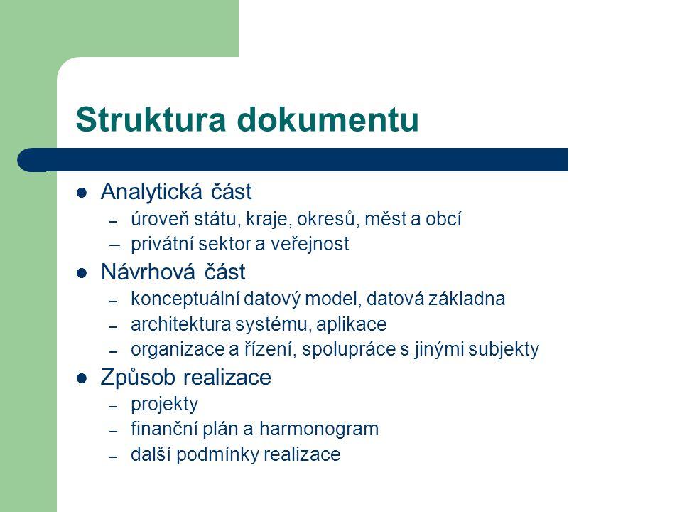 Struktura dokumentu Analytická část – úroveň státu, kraje, okresů, měst a obcí –privátní sektor a veřejnost Návrhová část – konceptuální datový model, datová základna – architektura systému, aplikace – organizace a řízení, spolupráce s jinými subjekty Způsob realizace – projekty – finanční plán a harmonogram – další podmínky realizace