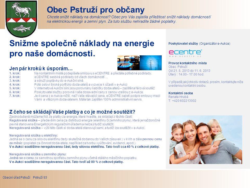 Obecní úřad Pstruží Pstruží 93 Obec Pstruží pro občany Chcete snížit náklady na domácnost.