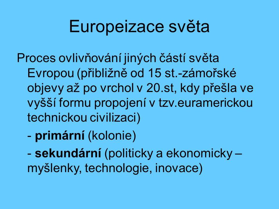Europeizace světa Proces ovlivňování jiných částí světa Evropou (přibližně od 15 st.-zámořské objevy až po vrchol v 20.st, kdy přešla ve vyšší formu p