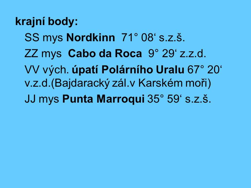 krajní body: SS mys Nordkinn 71° 08' s.z.š. ZZ mys Cabo da Roca 9° 29' z.z.d. VV vých. úpatí Polárního Uralu 67° 20' v.z.d.(Bajdaracký zál.v Karském m