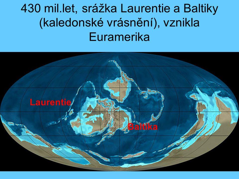 430 mil.let, srážka Laurentie a Baltiky (kaledonské vrásnění), vznikla Euramerika Laurentie Baltika