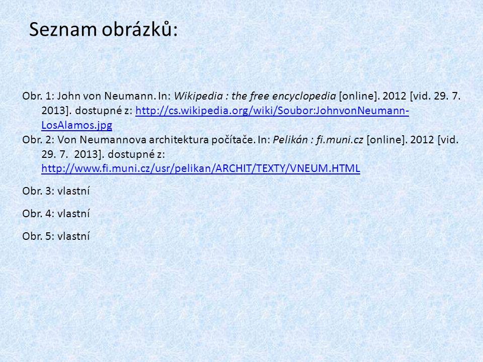 Seznam obrázků: Obr. 1: John von Neumann. In: Wikipedia : the free encyclopedia [online]. 2012 [vid. 29. 7. 2013]. dostupné z: http://cs.wikipedia.org