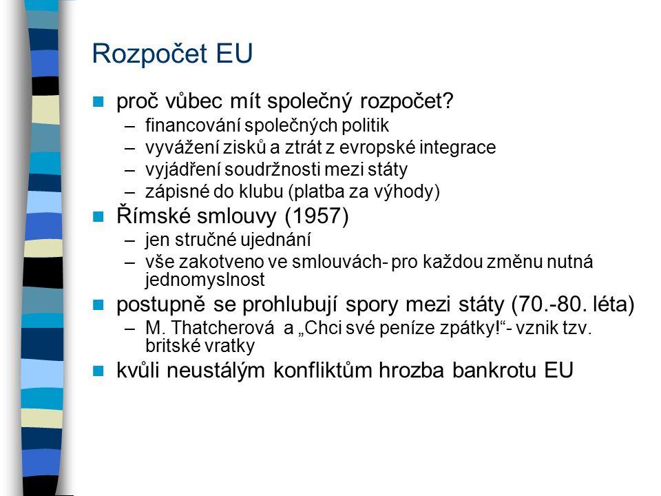 Rozpočet EU proč vůbec mít společný rozpočet? –financování společných politik –vyvážení zisků a ztrát z evropské integrace –vyjádření soudržnosti mezi